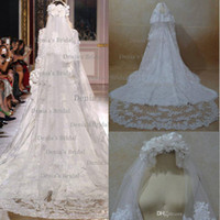 Wholesale Lace Pearl Meter - 2014 New Luxury Zuhair Muard Bridal Wedding Veil 4 Meter with Handmade Flowers Top and Beaded Lace Appliques
