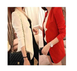 Wholesale Media Suit - Free shipping Autumn and winter clothing plus size solid color medium-long suit casual slim small suit jacket female