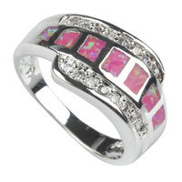 Trendy white stone with Pink opal Silver Plated ring R601 sz...