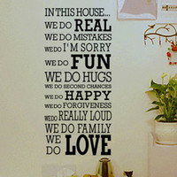 Wholesale Real Happy - House Rule We Do Real Fun Happy Love, Quotes And Sayings Wall Decor Decals, Large Vinyl Letters Wall Stickers Free Shipping