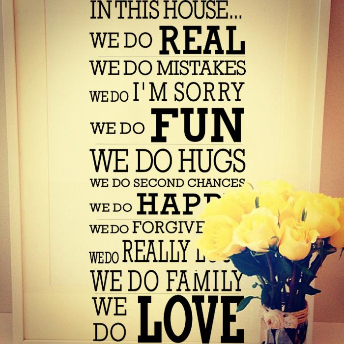 House Rule We Do Real Fun Happy Love, Quotes And Sayings Wall Decor Decals, Large Vinyl Letters Wall Stickers