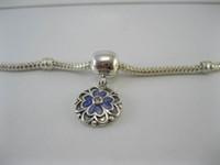 Wholesale 925 Ale Heart - Dogwood Dangle Clip Lavender Cubic Zirconia & Purple Enamel Authentic 925 ALE Sterling Silver Charms Fit Pandora Style Bracelets