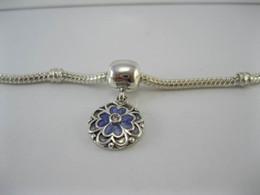 Wholesale 925 Ale Silver Charms - Dogwood Dangle Clip Lavender Cubic Zirconia & Purple Enamel Authentic 925 ALE Sterling Silver Charms Fit Pandora Style Bracelets