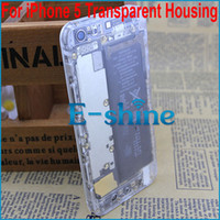 Wholesale Iphone Back Housing Transparent - Transparent Back Housing Cover For iPhone 5 5th Plastic Clear Battery Door with Side Button &Top Bottom Glass For iPhone 5mod