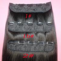 18 613 clip haar mensch groihandel-110g Brasilianische Remy Echthaarspange in Extensions Gerade Klammer an Echthaarstücken # 1B # 2 # 8 Braun # 613 Blond 5 Klammern Haar