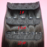 ingrosso clip di capelli biondi pezzo-Clip di capelli umani brasiliani remy 110g nelle estensioni clip diritte su pezzi di capelli umani # 1B # 2 # 8 marrone # 613 biondi 5 clip di capelli