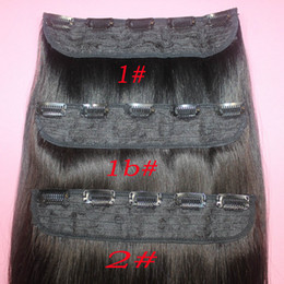 Wholesale Extension Clip Ombre - 110g Brazilian Remy Human Hair Clip in Extensions Straight Clip on Human Hair Pieces #1B #2 #8 Brown #613 Blonde 5 clips Hair