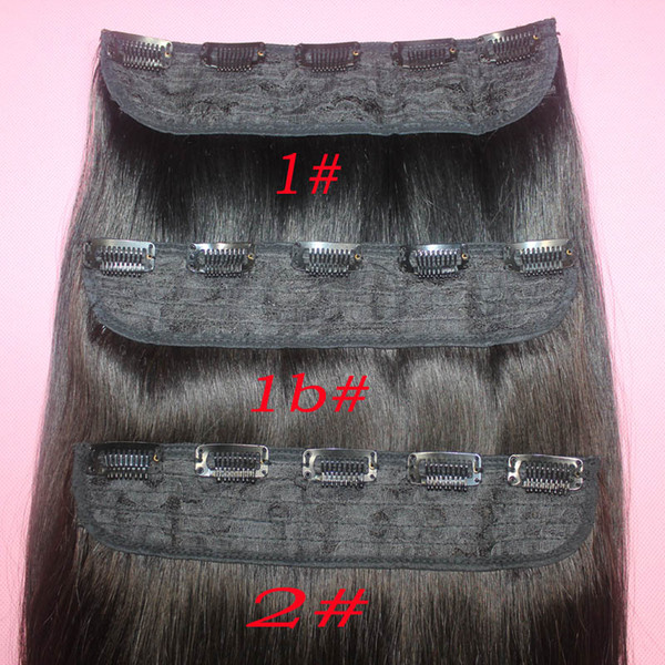 top popular 110g Brazilian Remy Human Hair Clip in Extensions Straight Clip on Human Hair Pieces #1B #2 #8 Brown #613 Blonde 5 clips Hair 2019