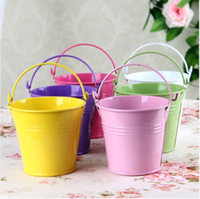 Wholesale Tin Pail Bucket Gifts - Wholesale-EMS Free shipping tin Candy box wedding favor mini tin candy buckets wedding pails metal bucket wedding gift