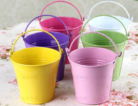 Wholesale Metal Favor Pail Candy - Free shipping wedding favor mini tin candy buckets wedding pails wedding favor metal bucket candy box 50pcs lot
