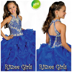 Wholesale Beaded Crystals Straps Blue Girls Pageant Dresses Halter Neck Little Kids Flower Girls Dress Tiered Ruffles First Holy Communion Dress