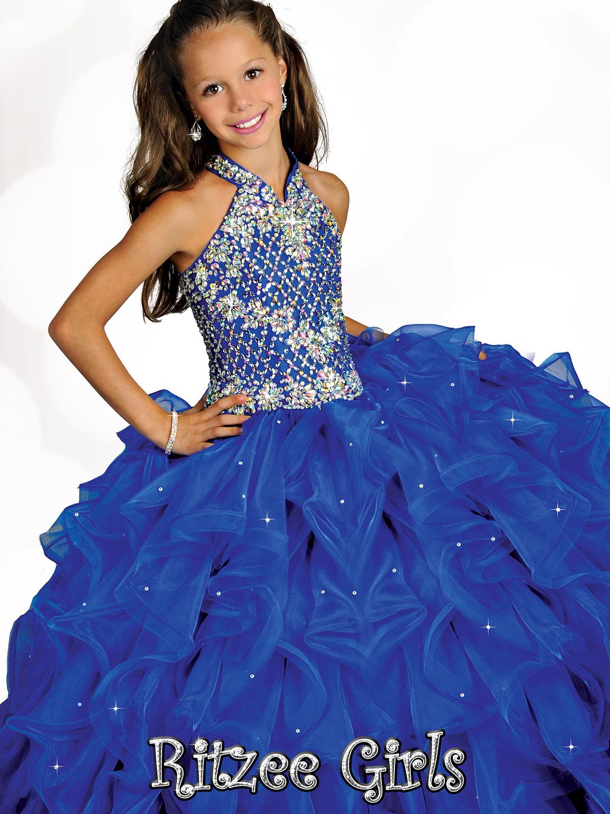 Cristaux Perle bretelles Bleu filles Pageant Robes 2019 Halter Neck Little Kids Flower Girls Dress Volants Première Sainte hiérarchisé Robe Communion