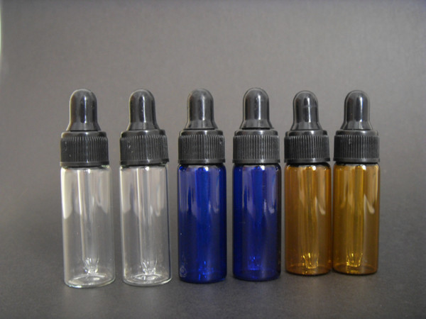 Wholesale Lot 1000pcs 5ml Amber/Clear glass eye dropper bottles,small vails for Essential oil, Perfume, Sampling Storage