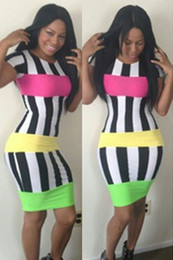 Wholesale Clubwear Cocktail - 2016 Hot Sexy Women's Black-White Striped Dress Bodycon Clubwear cocktail party Evening Dress Fashion Dress Size S M L TY049
