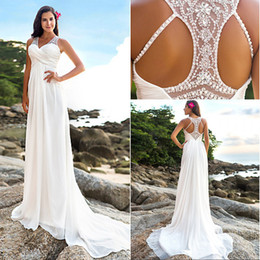 Wholesale Wedding Dress Draped Empire - 2017 Newest Wedding Dresses Fashion Empire Sheer V Neck Court Train Sequins Crystal Draped Chiffon Bridal Gown EM00748