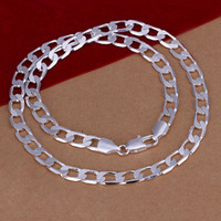 "Wholesale Wedding Bags China - Men necklace 925 Sterling Silver Jewelry 8mm 20"" Long Twisted Singapore Chains Curb Chain Necklaces gift bag N034 free shipping"