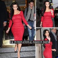 Wholesale Celebrity Sexy Ol - Fashion New 2015 Sexy kim kardashian Red Blue Lace OL Evening Dresses Tea Length Long Sleeve Square Celebrity dresses Bodycon Pencil dresses