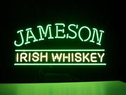 Wholesale Irish Bar Signs - NEW JAMESON IRISH WHISKEY REAL GLASS NEON LIGHT BEER BAR PUB SIGN
