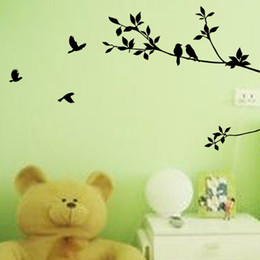Wholesale Decorative Bird Wall Decals - Free Shipping Tree Branch And Birds Art Decorative Wall Stickers, Black Vinyl Wall Stickers for Room Decoration