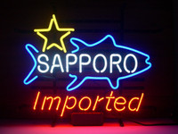 Wholesale White Lager - NEW SAPPORO IMPORTED REAL GLASS NEON LIGHT BEER LAGER BAR SIGN