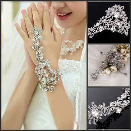 $enCountryForm.capitalKeyWord Canada - 2014 Free Shipping Wedding Bridal party prom Jewelry Crystal Rhinestone bracelet with ring wristband Bracelet Bridal Jewellery Sets Crystals