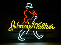 Wholesale Johnnie Neon Signs - New Johnnie Walker Real Glass Neon Light Sign Beer Bar Pub Sign