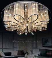 pendentif argent cuivre achat en gros de-Promotion ! Éclairage moderne de lustre en cristal de montage de lampe de plafond de salon de luxe moderne