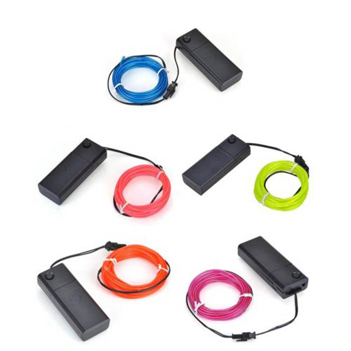 New Blister card el wire 3m Flexible Neon Light Glow EL Wire Rope Tube Car Dance Party Costume + Controller Box operated by 2*AA Battery