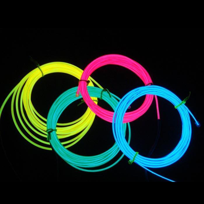 Новый блистерная карта el провод 3 м гибкий неоновый свет свечение EL провода веревки трубки автомобиля танец партии костюм + контроллер коробка управляется 2*AA батареи