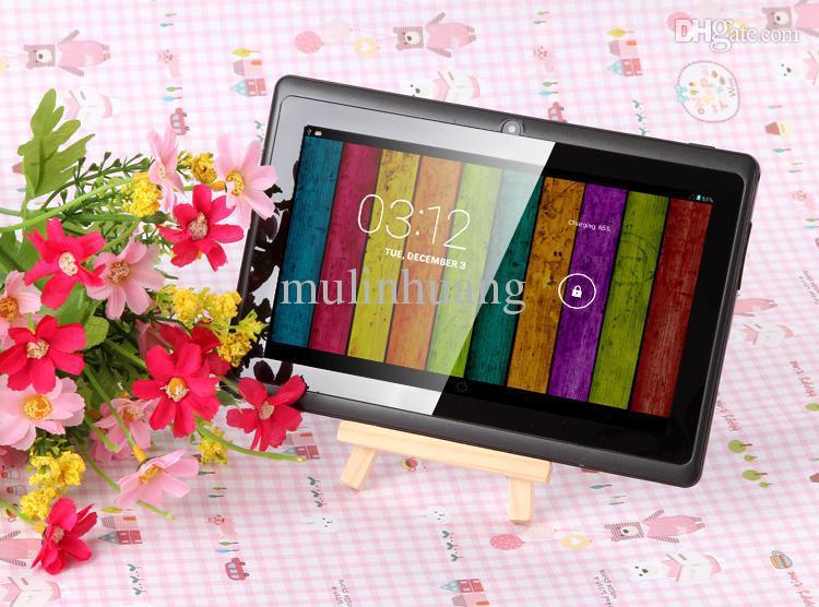 7-дюймовый планшетный ПК A33 Quad Core Q88 Allwinner Android 4.4 KitKat емкостный 1.5 GHz DDR3 512MB RAM 8GB ROM двойная камера фонарик 7inch MQ50