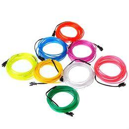 Nueva Blister card el wire 3 m Flexible Neon Light Glow EL Cable Cuerda Tube Car Dance Party Costume + Controller Caja operada por 2 * AA Battery