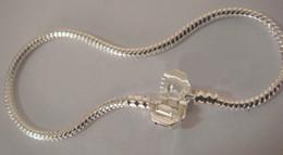 Wholesale Mix Size Snake Bracelets - 925 Sterling Silver love Snake Snap Clasps silver Bracelets Chain Snake Chain Snap Clasp European Charm Bracelets mix Size 50pcs