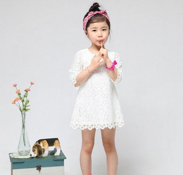 7c0136e4c Горячая распродажа! 2014 Новая мода Корейская детская одежда Красивые белые  девушки Кружева платье Принцесса Мини