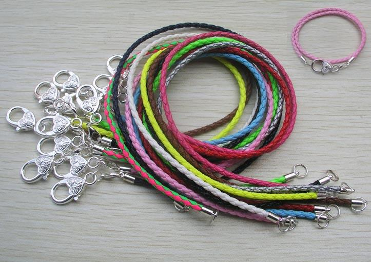 silver plated heart clasp 34-42cm fashion pu leather jewelry chains European DIY bracelet mix color