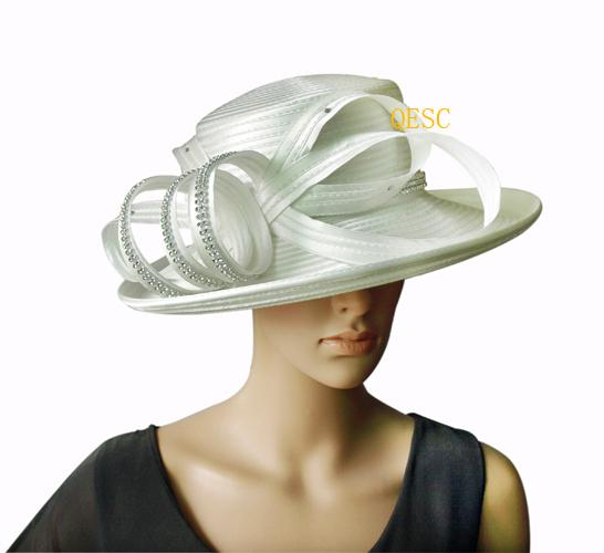 0a9ec2331 Cream/ivory All Year Around Church Formal Hat with Rhinestones Band for  kentucky derby.up brim.