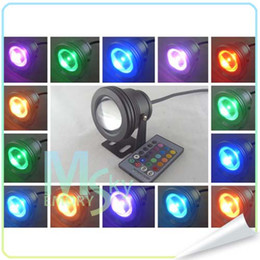Wholesale 12v Ir Floodlights - Best Waterproof Led Underwater Light 16 Color Changing RGB LED Pool Pond Fountain Lamp 10W 12V RGB Floodlight With 24Key IR Remote 002127