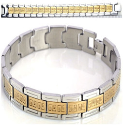 Wholesale Mens Gifts Sets - 1PC New Stainless Steel Bangle Gold Silver Link Wristband Chain Mens Bracelets jewelry Free Gift[B345]