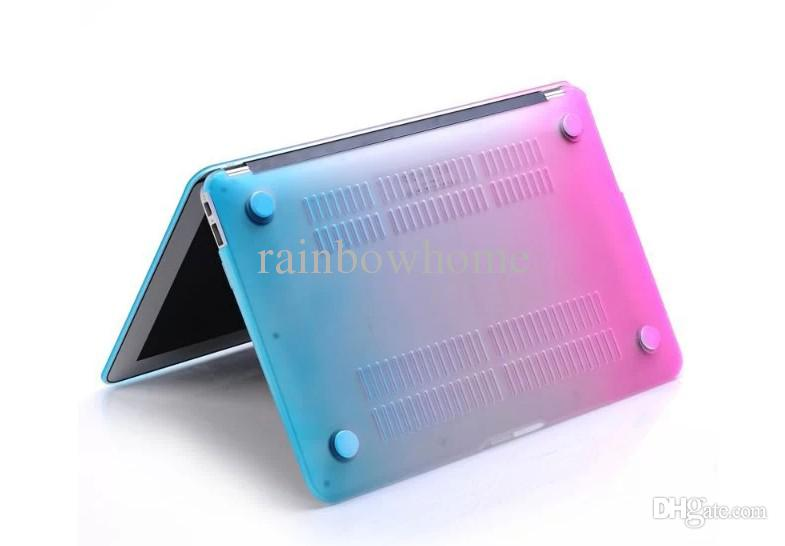 Rainbow Gradient Couleur Matte Caoutchouté Protecteur Couverture De Cas pour Macbook Air Pro Retina 11 12 13 15 pouces Ordinateur Portable Cristal Cas En Plastique