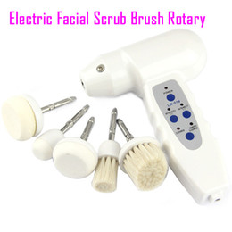 Wholesale face brush electric - Electric facial cleansing brush scrub brushes Rotary face care massager facial brush