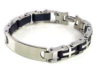 """Wholesale Jewlery Silver Rings - 8.5"""" Men Black Rubber Silver Cross Link Stainless Steel Bracelet Men Jewlery Wristband Chain[B323]"""