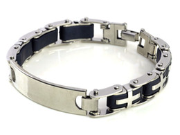 "Wholesale Silver Jewlery Sets - 8.5"" Men Black Rubber Silver Cross Link Stainless Steel Bracelet Men Jewlery Wristband Chain[B323]"