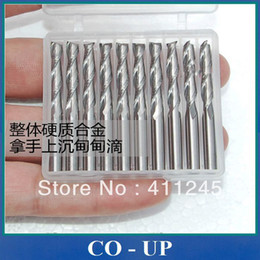 Wholesale Cnc Spiral Router Bit - Free shipping Flutes Carbide Mill Spiral Cutter 2L3.175 Wood CNC Router Bits Cutting Tools for CNC Machine Engraving
