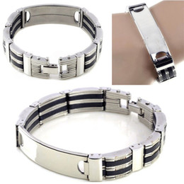"Wholesale Id Bracelet Steel - 8.5"" man's ID Black Rubber Silver Chain Stainless Steel Bracelet Wristband Gift Jewelry Free Ship [B324]"