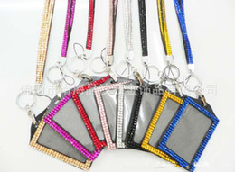 Wholesale Bling Lanyards For Badges - Bling Lanyard Crystal Rhinestone in Neck With Claw Clasp ID Badge Holder with job card