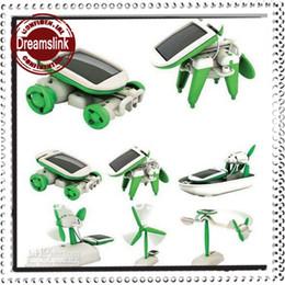 Wholesale Assemble Robot - 6 In 1 Educational Solar Power Assemble Boat Fan Car Dog Plane kit Robot DIY Toy 1pack