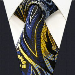 Wholesale Necktie Extra Long - P15 Paisley Blue Black Yellow Mens Neckties Ties 100% Silk Extra Long Size Jacquard Woven Brand