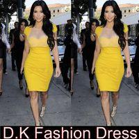 Wholesale Stretch Gauze - Kim Kardashian Celebrity Dresses Yellow gauze Perspective Sexy ashion with short sleeves Stretch Bodycon Pencil Cocktail Women Dress dk4003s