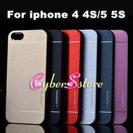 Wholesale Iphone Back 4s Plastic - For iphone 6 6s plus 5 5S SE 4 4s Luxury Ultra thin Motomo Brushed Brush Aluminium METAL Slate Hard Back Case Cover