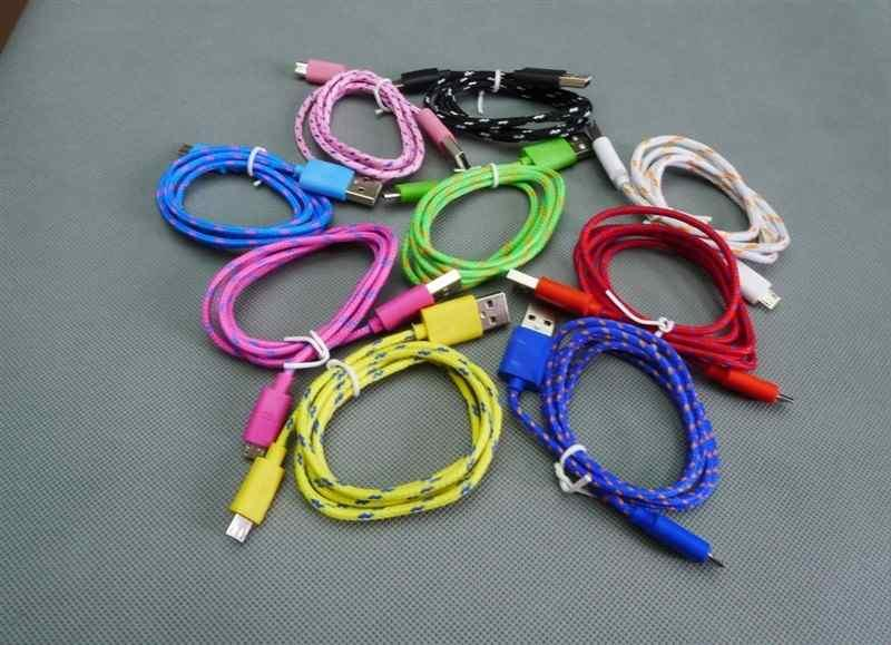 1M 3FT Fabric braided wire Micro USB Data Cable for HTC Sumsung S3 S4 cloth Woven Fiber Knitted Nylon 1000pcs/lot