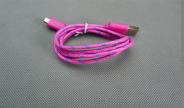 Wholesale Cloth Iphone Cable - 1M 3FT Fabric braided Micro USB Data Cable for HTC Sumsung S3 S4 cloth Woven Fiber Knitted Nylon Cords 200pcs lot for ip7 also availabe
